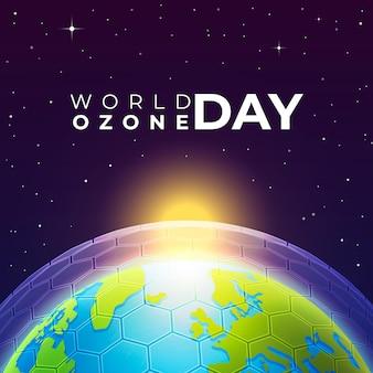 Dia mundial do ozônio realista com camada de ozônio