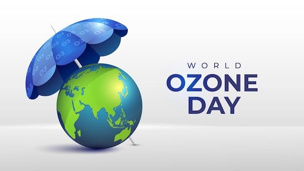 Dia mundial do ozônio realista com ilustração da terra e do guarda-chuva
