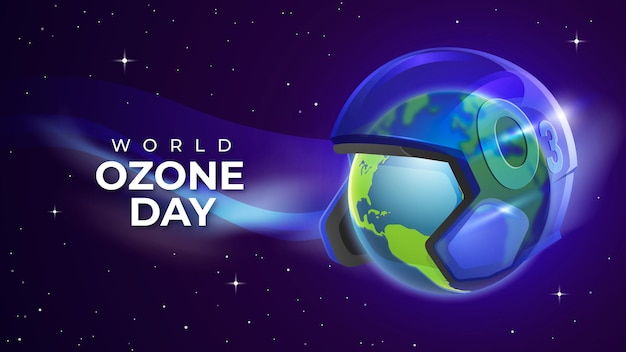 Dia mundial do ozônio realista com the clear helmet