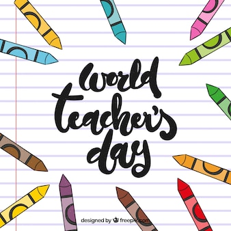 Dia mundial do professor em um papel alinhado em letras da mão