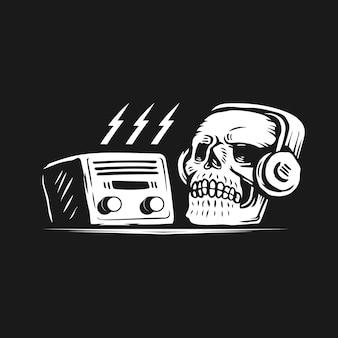Dia mundial do rádio com o conceito de design do crânio.