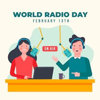 Dia mundial do rádio de fundo de design plano com o homem