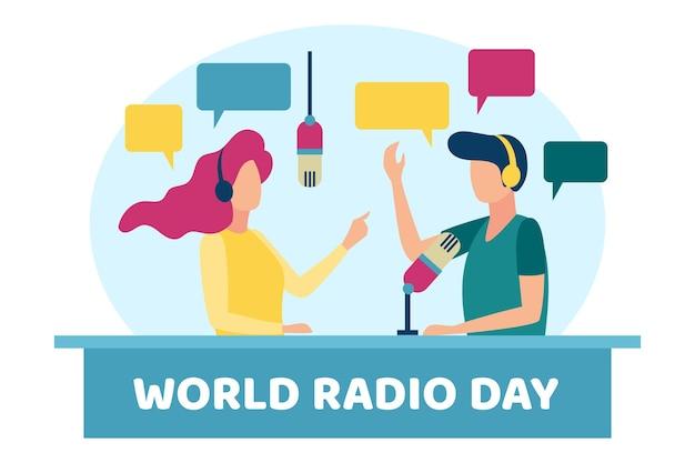 Dia mundial do rádio de fundo de design plano com personagens