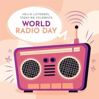 Dia mundial do rádio desenhado à mão fundo com rádio retrô