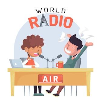 Dia mundial do rádio desenhado à mão plana