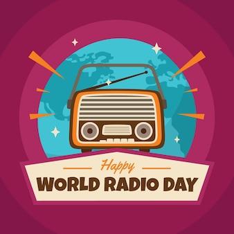 Dia mundial do rádio desenhado à mão