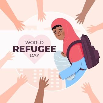 Dia mundial do refugiado de design plano