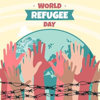 Dia mundial do refugiado de mão desenhada