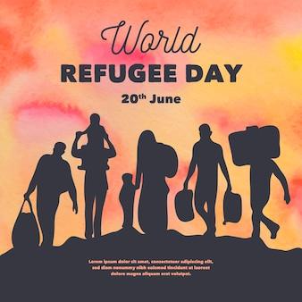 Dia mundial do refugiado de silhuetas