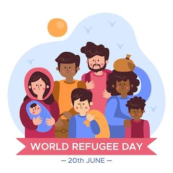 Dia mundial do refugiado desenhado à mão
