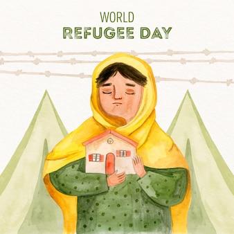 Dia mundial do refugiado mão desenhada estilo