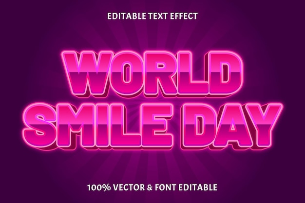 Dia mundial do sorriso editável com efeito de texto em 3 dimensões estilo neon