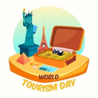 Dia mundial do turismo com bagagem aberta
