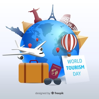 Dia mundial do turismo com design plano