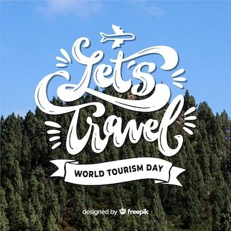 Dia mundial do turismo com fundo de natureza