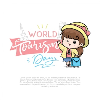 Dia mundial do turismo com ilustração em vetor logotipo linda garota