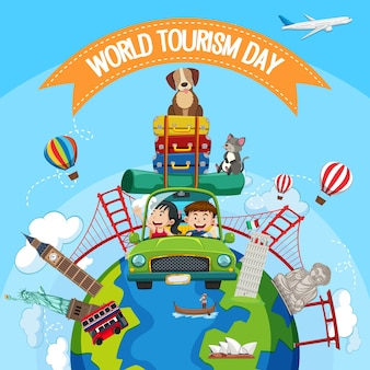 Dia mundial do turismo com turistas e elementos de marcos turísticos famosos