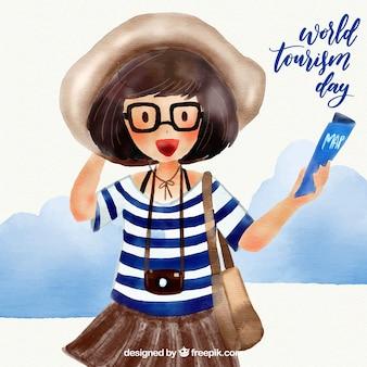 Dia mundial do turismo com viajante aquarela