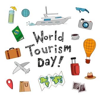 Dia mundial do turismo desenhado à mão