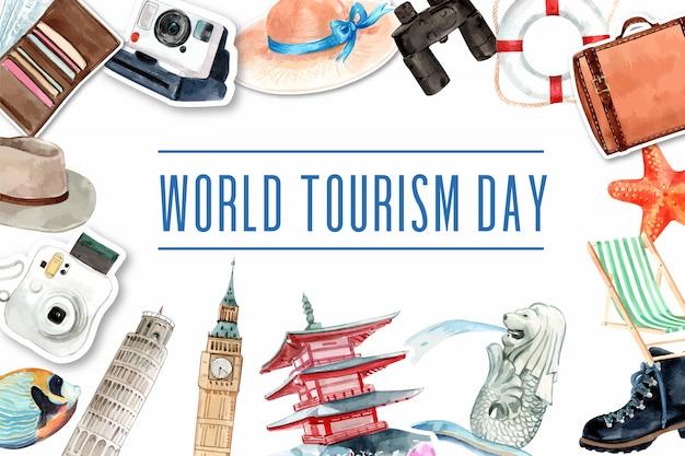 Dia mundial do turismo, design de moldura com marco do japão, singapura, londres, itália