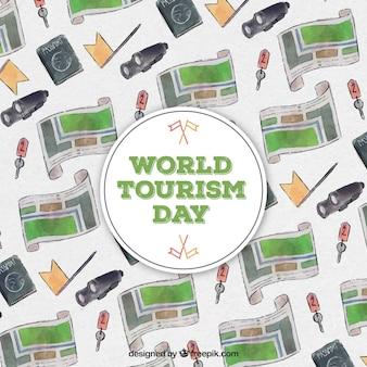 Dia mundial do turismo, fundo aquarela com mapas