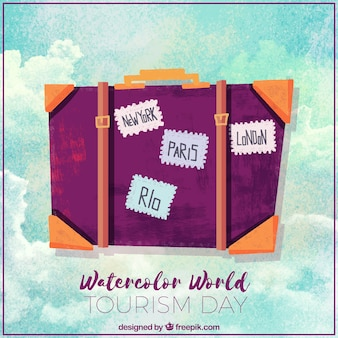 Dia mundial do turismo, fundo de aguarela com uma mala de viagem
