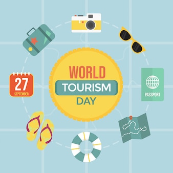 Dia mundial do turismo plana isolado