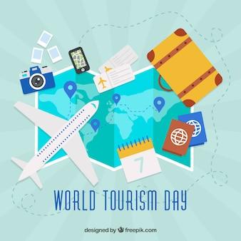 Dia mundial do turismo, um avião em um mapa