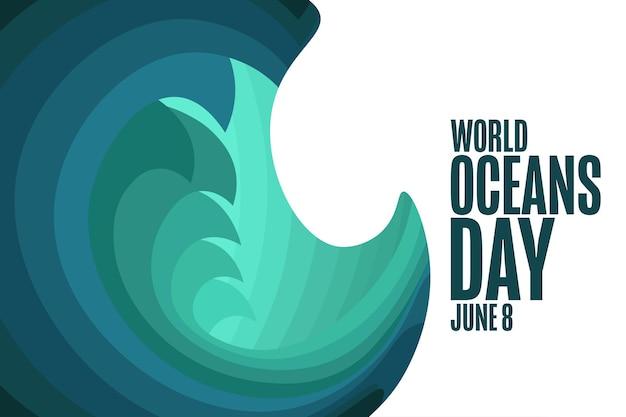Dia mundial dos oceanos. 8 de junho. conceito de férias. modelo de plano de fundo, banner, cartão, pôster com inscrição de texto. ilustração em vetor eps10.