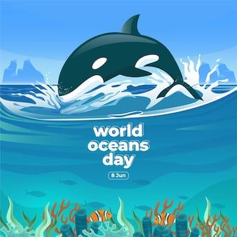 Dia mundial dos oceanos, 8 de junho grandes baleias e peixes nadavam embaixo d'água com uma bela ilustração em vetor de fundo de corais e algas marinhas