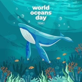 Dia mundial dos oceanos, 8 de junho salve nosso oceano grandes baleias e peixes nadavam embaixo d'água com uma bela ilustração em vetor de fundo de corais e algas marinhas