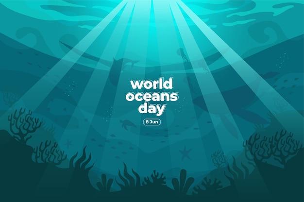 Dia mundial dos oceanos, 8 de junho salve nosso oceano os peixes-silhueta estavam nadando embaixo d'água com uma bela ilustração em vetor de fundo de corais e algas marinhas