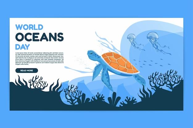 Dia mundial dos oceanos, 8 de junho salve nosso oceano tartarugas marinhas e peixes estavam nadando embaixo d'água com uma bela ilustração vetorial de fundo de corais e algas marinhas