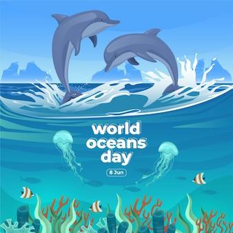 Dia mundial dos oceanos, 8 de junho salve o nosso oceano golfinhos e peixes estavam nadando debaixo d'água com uma bela ilustração em vetor de fundo de corais e algas marinhas