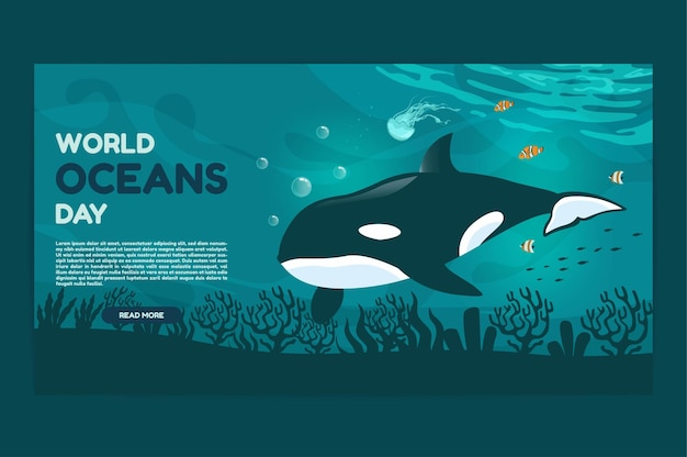 Dia mundial dos oceanos 8 de junho web banner salve nosso oceano grandes baleias orcas e peixes nadavam embaixo d'água com uma bela ilustração em vetor fundo coral e algas marinhas