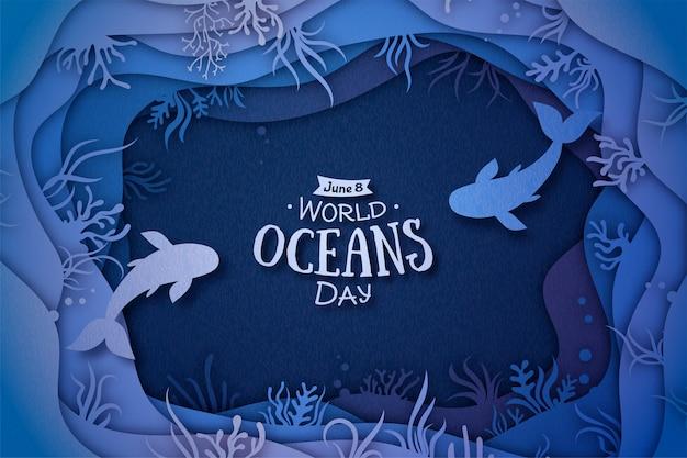 Dia mundial dos oceanos. arte de papel com ondas e peixe