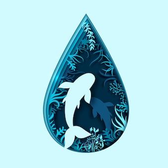 Dia mundial dos oceanos. arte em papel de ondas do mar e peixes