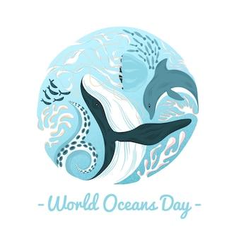 Dia mundial dos oceanos baleia e golfinho