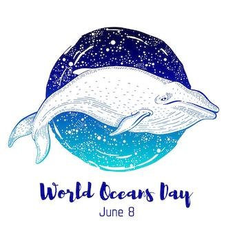 Dia mundial dos oceanos. cartão de baleia marinha Vetor Premium