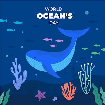Dia mundial dos oceanos com baleias e peixes