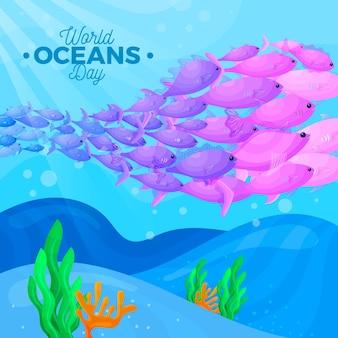 Dia mundial dos oceanos com banco de peixes