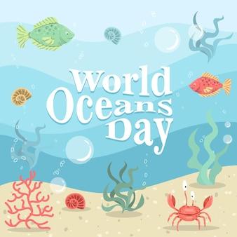 Dia mundial dos oceanos com caranguejo e peixe