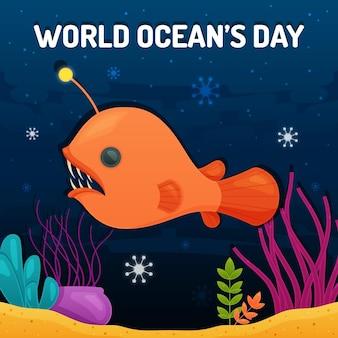 Dia mundial dos oceanos com criatura aquática
