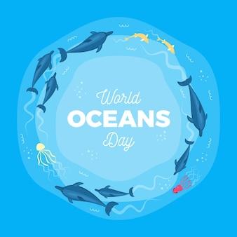 Dia mundial dos oceanos com criaturas marinhas