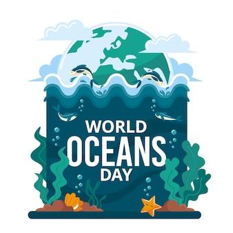 Dia mundial dos oceanos com o planeta