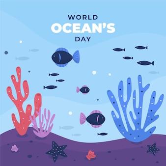 Dia mundial dos oceanos com peixe
