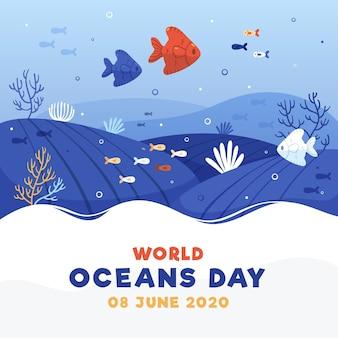 Dia mundial dos oceanos com peixes debaixo d'água