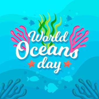 Dia mundial dos oceanos com peixes e algas