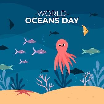 Dia mundial dos oceanos com peixes e polvos