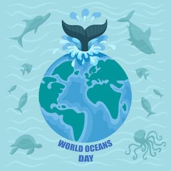 Dia mundial dos oceanos com planeta e peixes